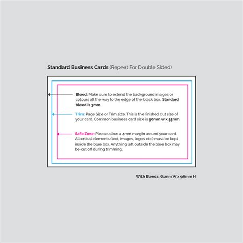 standard business card template standard sided business cards print