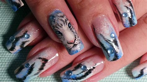 tiger pattern nail art tiger inspired nail art design tutorial youtube