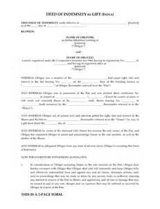 deed of gift template australia india deed of indemnity re gift forms and business