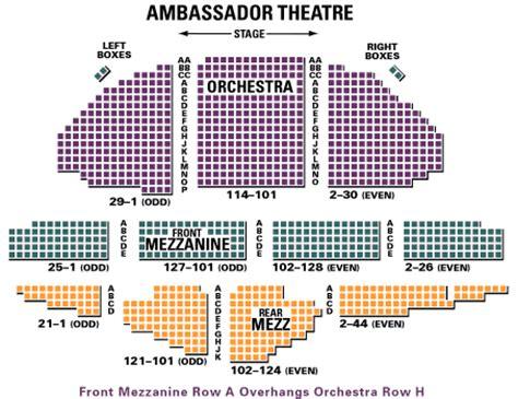 ambassador theater seating chart ambassador nyc