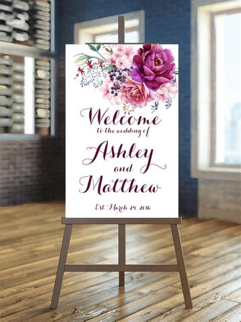 Wedding Welcome Sign by Printable Wedding Sign Welcome Wedding Sign Floral