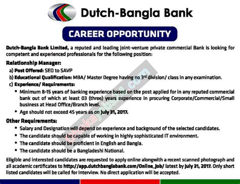Mba Fresher In Netherlands by Bank Circular 2017
