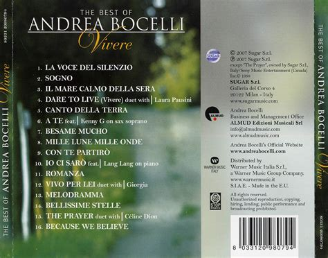 the best of andrea bocelli car 225 tula trasera de vivere the best of andrea bocelli de
