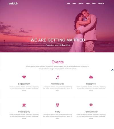 Free Wedding Website Template By The Webthemez Marriage Website Templates Free