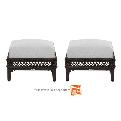 Ottoman Pillows Hton Bay Woodbury Patio Ottoman With Cushion Insert 2 Pack Slipcovers Sold Separately