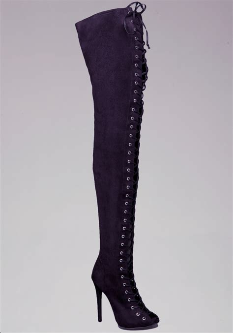 the knee tie up boots bebe lace up knee boots in black lyst
