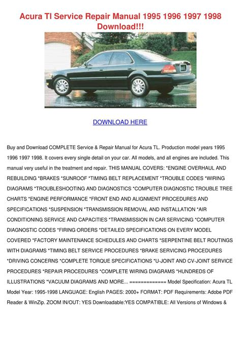 car engine repair manual 1997 acura tl parental controls acura tl service repair manual 1995 1996 1997 by feliciadailey issuu