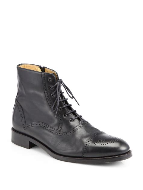 saks fifth avenue tristan captoe laceup boots in black for