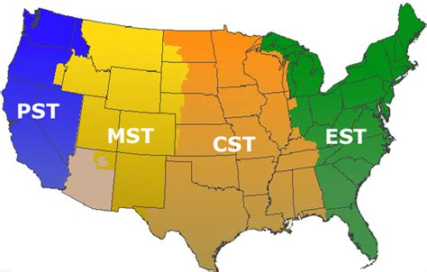 us map time zone wise timezones
