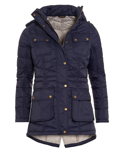 Womens Blue Quilted Jacket by Barbour International Womens Circlip Quilted Jacket Navy