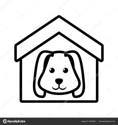 dog house outline dog animal pet ear long house pet outline stock vector