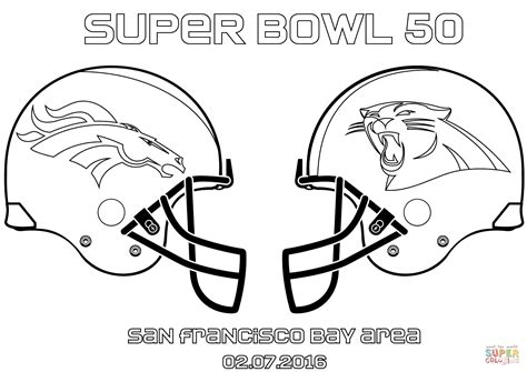 super coloring pages nfl super bowl 50 carolina panthers vs denver broncos