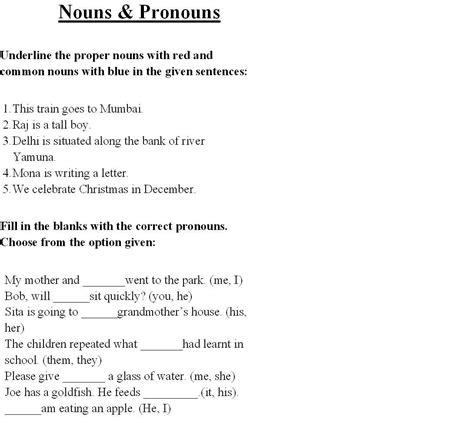 Nouns And Pronouns Worksheet by Nouns Pronouns 2