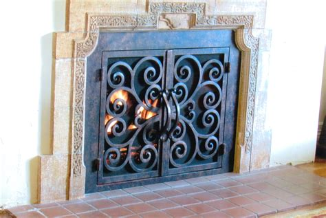 to install wrought iron fireplace screens home ideas