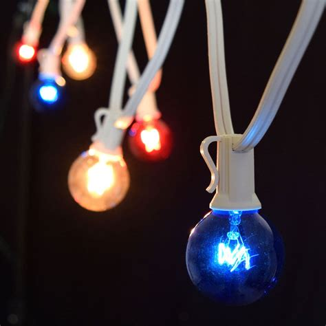 C7 Patriotic Globe String Lights 25 White Light Strand White Globe String Lights