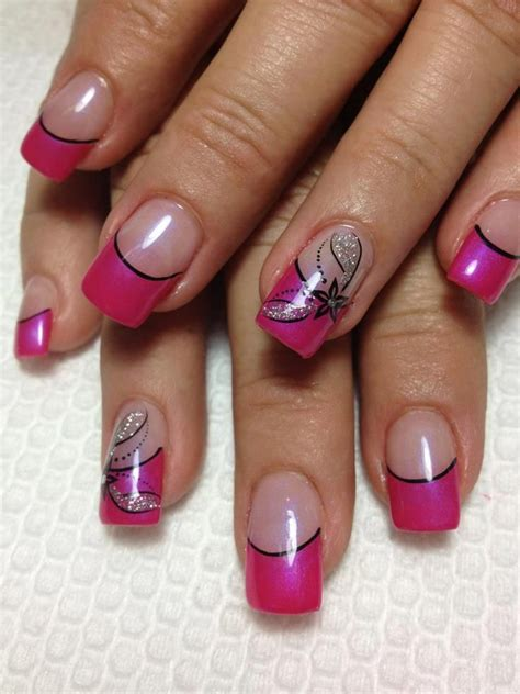 easy nail art black and pink lechat gel pink tip nails with floral design nails