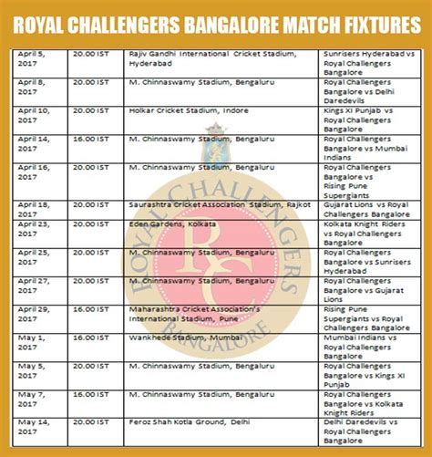 ipl match table 2017 royal challengers bangalore ipl 2017 schedule download