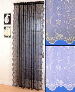 Black Lace Curtains Lace Voile Net Curtain Panel Black White Scalloped Choice Of Drops Ebay