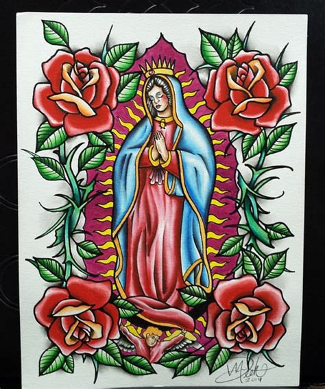 tattoo flash virgin mary traditional virgin mary guadalupe watercolor tattoo flash