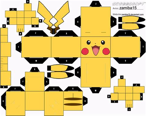 Pikachu Papercraft Template - pikachu cubeecraft by zamiba15 on deviantart