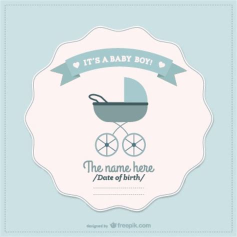 Baby Boy Card Template by Baby Boy Announcement Card Vector Free