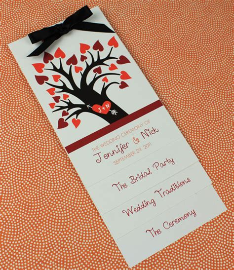 layered wedding programs templates fall wedding program template with tree print