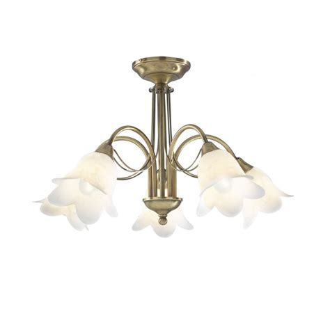 Doublet Antique Brass 5 Light Semi Flush Ceiling Light Flush Ceiling Lights Brass
