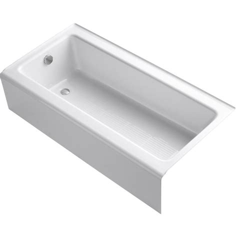 white bathtub shop kohler bellwether 60 in white cast iron alcove