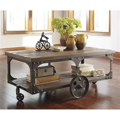 factory cart coffee table vennilux factory cart coffee table in gray and