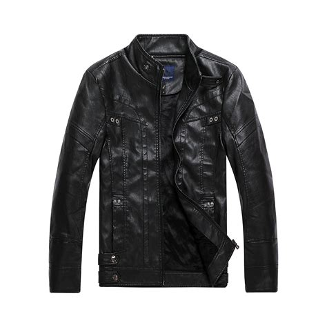 Stand Collar Faux Leather Jacket s vintage stand collar faux leather jacket