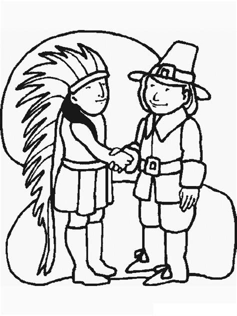 pilgrim indian coloring page free printable thanksgiving coloring pages for kids
