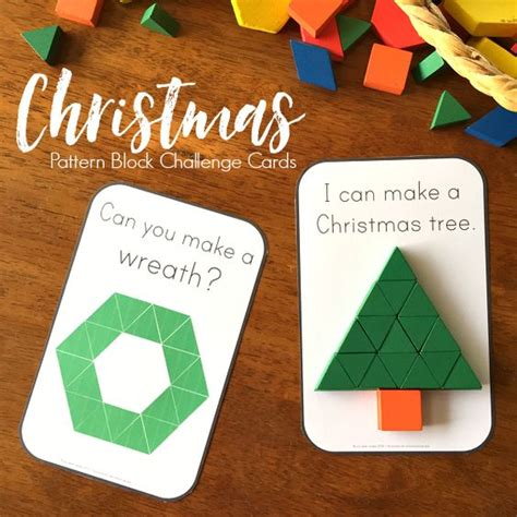 pattern math centers christmas pattern block challenge cards a well