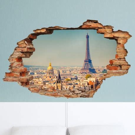 3d Sticker Paris by Sticker Trompe L œil Vue Sur Paris Pas Cher Stickers 3d