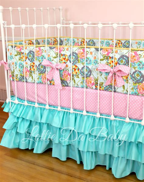 Handmade Crib Bedding - custom baby crib bedding turquoise