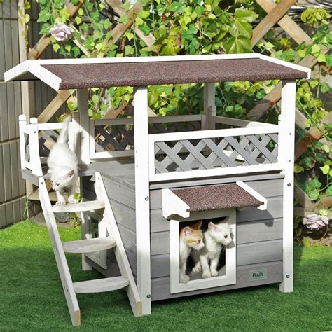 Outdoor Cat House Dog Pet Waterproof Solid Wood Shelter