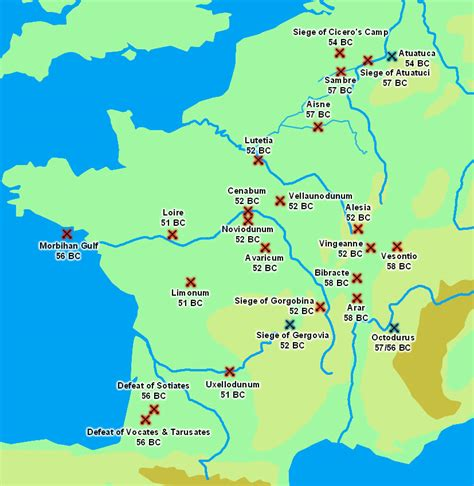 battles and sieges of the gallic war 58 51 b c