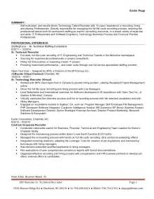 recruiter cover letter exles resume of technical recruiter