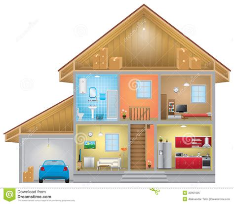 house interior cartoon house with garage clipart 47