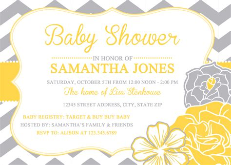 Yellow Baby Shower Invitations Theruntime Com Yellow And White Baby Shower Invitation Templates