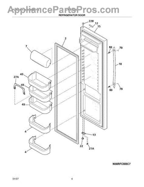parts for frigidaire plhs69egss4 refrigerator door parts