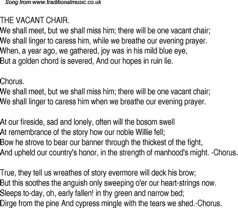 The Vacant Chair by Time Song Lyrics For 28 The Vacant Chair
