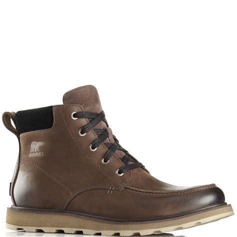 mens slip on waterproof boots mens sorel madson moc toe waterproof slip on fur lined