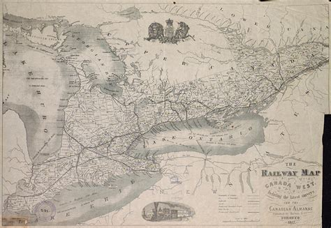 map of canada west the railway map of canada west including the
