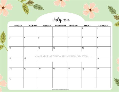 Printable Calendar 2016 Pretty | free printable calendars for july 2016