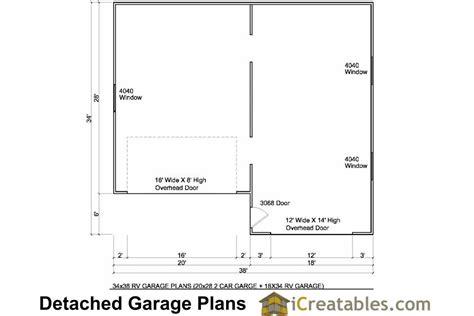 Garage Organization Floor Plan 34x38 Rv Garage Plans With 2 Car Garage
