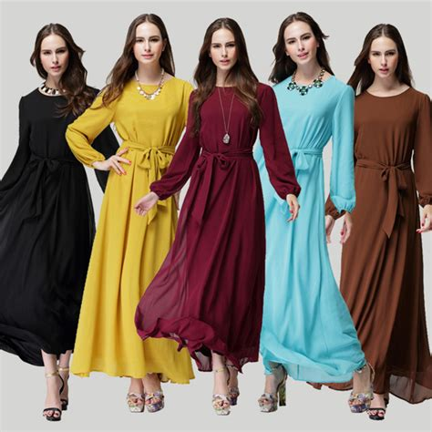 4 colors casual muslim abaya dubai dress 2016 new fashion baju chiffon islamic