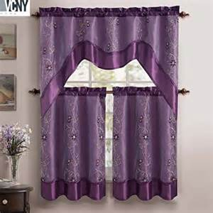 Kitchen Tier Curtains Sets 3 Pc Tier Valance Kitchen Curtain Set Purple Walmart