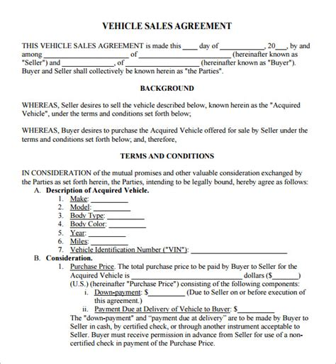 agreement of sale template for a vehicle sales agreement 6 free pdf doc
