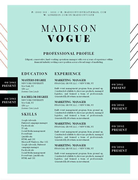 5 Best Creative Resume Templates for Microsoft Word 2017