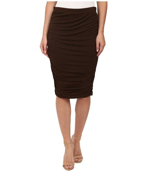 vince camuto ruched midi skirt in brown lyst
